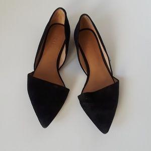 J cerw black suede flat shoes
